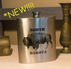 7 oz. North Dakota Fractal Bison Stainless Steel Flask