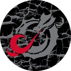 MSUM Grey Dragon Cracks 3 on Black Sandstone Car Coaster