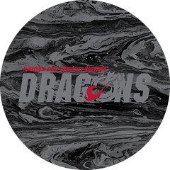 MSUM Dragons in Grey Concrete 1 on Black Sandstone Car Coaster