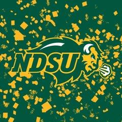 NDSU Primary Logo Confetti 1 Square Sandstone Coaster