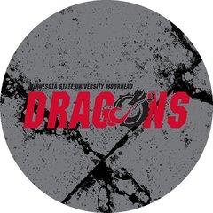 MSUM Dragons in Red Black Dragon Cracks 2 on Grey Sandstone Car Coaster
