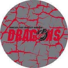 MSUM Dragons in Red Black Dragon Cracks 4 on Grey Sandstone Car Coaster