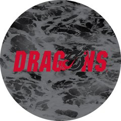 Dragons in Red Black Dragon Water 1 on Black Sandstone Car Coaster