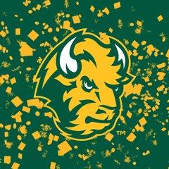 NDSU Head Logo Confetti 1 Square Sandstone Coaster