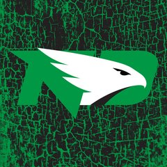 "UND Green Logo Cracked background 3 4.25"" Ceramic Tile"