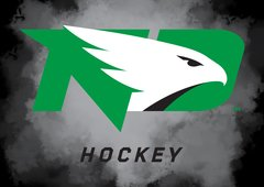 "UND Hockey Green Logo Clouds background 1 8"" X 11"" Glass Cutting Board"