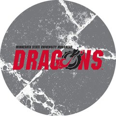 MSUM Dragons in Red Black Dragon Cracks 1 on Grey Sandstone Car Coaster