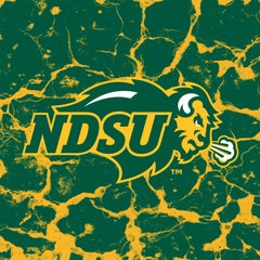 NDSU Primary Logo Cracks 3 Square Sandstone Coaster