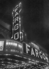 "8"" X 11"" Fargo Theater #2 B&W HDR Glass Cutting Board"