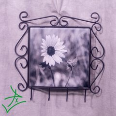 Wought Iron Key Rack Black and White Daisy