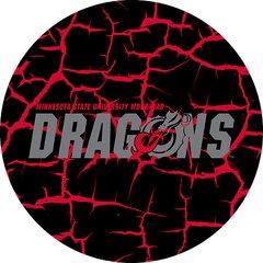 MSUM Dragons in Grey Cracks 4 on Black Sandstone Car Coaster