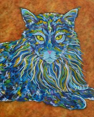 "The Maine One - Maine Coon Cat, Metal Print Size 11"" x 14"""