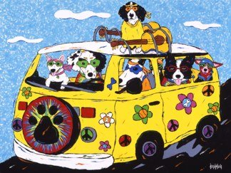 Woofstock - Dogs In Hippie VW Bus