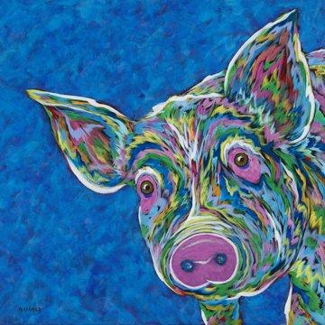 "Oink? - Pig METAL PRINT SIZE 10"" X 10"""