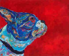 """Into The Wind - Boston Terrier Metal Print, SIZE 11"""" h x 14"""" w"""