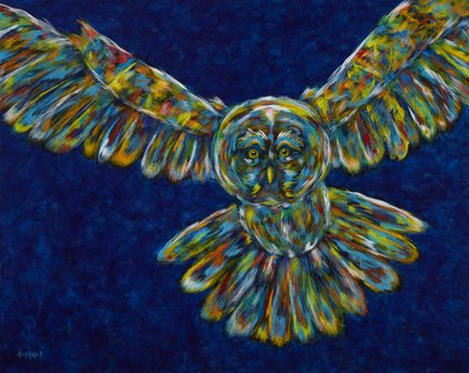 "Keeper Of The Night - Owl, METAL PRINT Size 11"" x 14"""