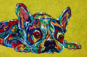 "I'm Not Moving - French Bulldog, Boston Terrier Metal Print, SIZE 10"" h x 15"" w"