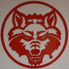 Red Wolf Head Circle Art