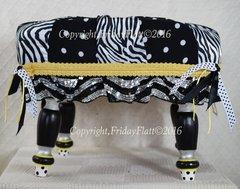 Zebra and Polka dots Footstool black white silver
