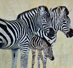 """ZEBRA GICLEE GALLERY WRAPPED STRETCHED CANVAS PRINT """"WE ARE FAMILY"""""""