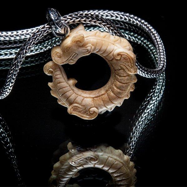 69. ChineseDragon/SterlingSilver/Bone/Pendant