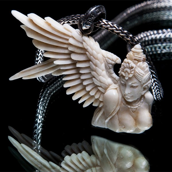 73. Angel/2/SterlingSilver/Bone/Pendant