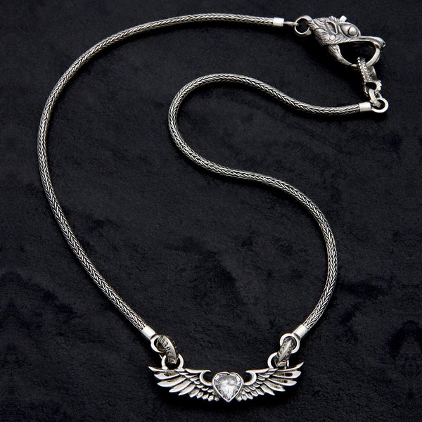 63. HeartwithWings/CZ/SterlingSilver/Necklace