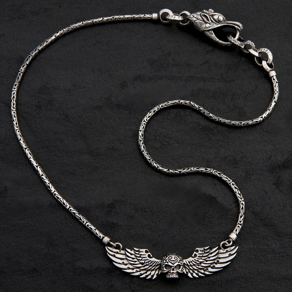 33. SkullwithWings/Sterling Silver/Necklace