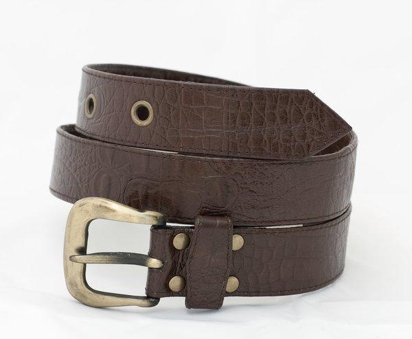 Crocodile Print - Leather Belt - 3C