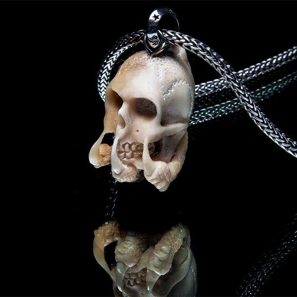 68. SkullandClaws/SterlingSilver/Bone/Pendant