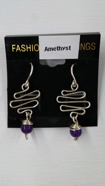 Amethyst Earrings - Zigzag wire dangling