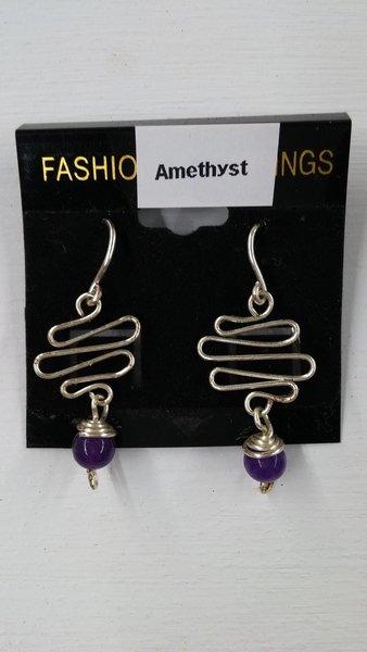 Amethyst Earrings - Zigzag wire dangling