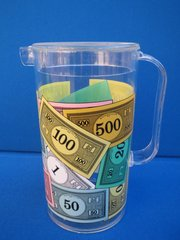 Monopoly money themed plastic pitcher