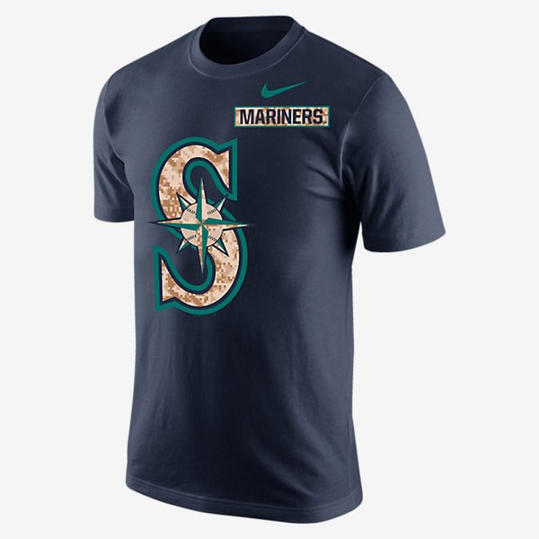 Nike mlb patriot pack seattle mariners t shirt pure fire for Kicks on fire t shirt