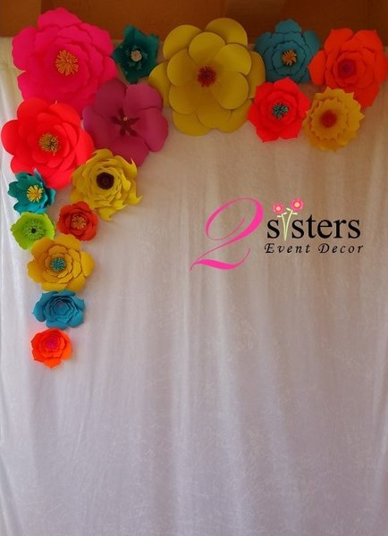Paper flower backdrop david table linens co paper flower backdrop mightylinksfo Choice Image
