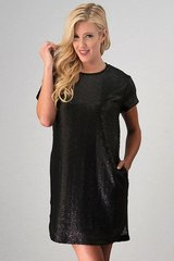Black Sequin Dress With Pockets