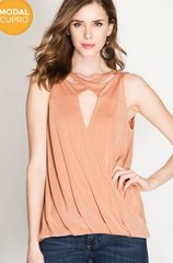 Modal Cupro Top With Surplice Hem and Cross Neck (apricot)
