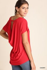 Short Sleeve Top with Back Keyhole