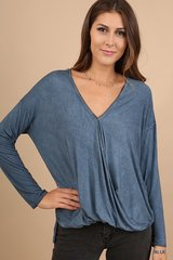 Mineral Washed Long Sleeve Surplice Top