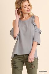 Cold Shoulder With Ruffle Detail (grey)