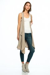Draped Long Knit Vest