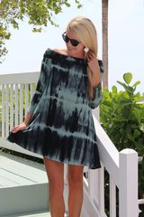 Fold Over Off The Shoulder Tie Dye Tunic
