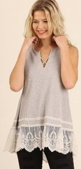 Lace Hem Sleeveless Top With Crisscross Vneck Detail