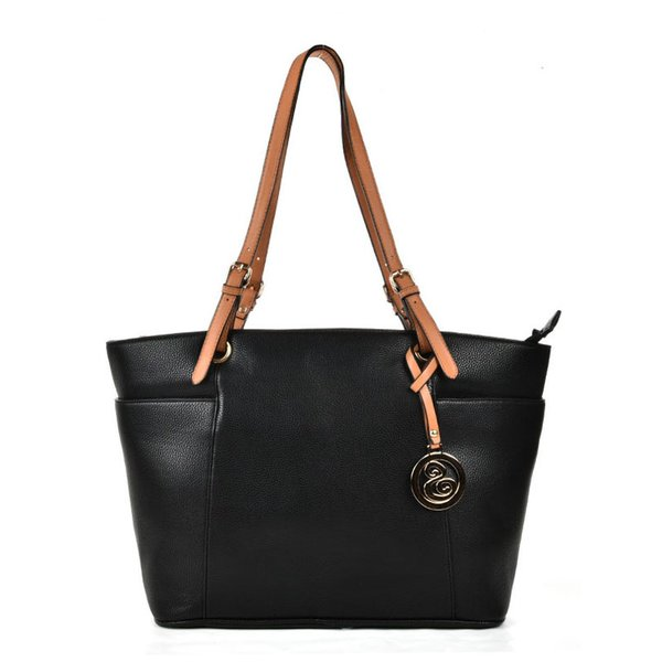 Black - Oversized Tote Bag With Contrast Tan Straps | luxury ...