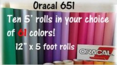 Ten 5 foot rolls of Oracal 651 in your choice of colors