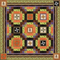 Halloweenie Quilt Kit designed by Brenda Ferrari with Fabric collection by Robin Kingsley of Birdbrain Designs for Maywood Studio, 54 1/2 x 54 1/2 quilt size