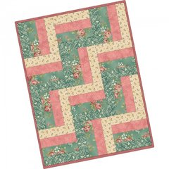 Welcome Home Rose and Teal 12 Block Rail Fence Pre-Cut Easy Quilt Kit by Maywood Studio, measuring 24 x 32