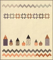 "In the Village/Hocus Pocus Layer Cake Quilt Kit designed by Sandy Gervais for Moda Fabrics, 72"" x 84"" finished size"