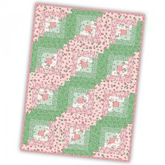Berries and Blossoms 12 Block Log Cabin Pre-cut Quilt Kit for Maywood Studio, 100% Premium Cotton