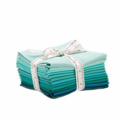 12 Bella Solid Graduated Colors of Teal Fat Quarters designed by Moda Fabrics